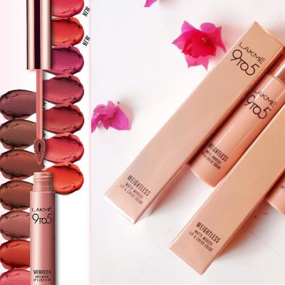 Lakme 9to 5 weightless mousse lip and cheek color swatches